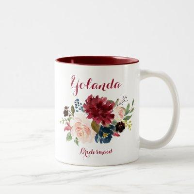 Burgundy navy watercolor floral bridesmaid Two-Tone coffee mug