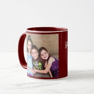 Burgundy Personalize PHOTO TEMPLATE Gift Coffee Mug