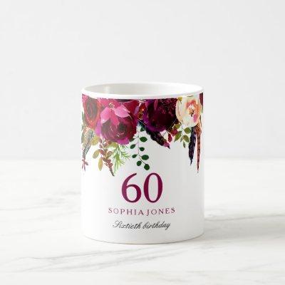 Burgundy Pink Floral 60th Birthday Guest Gift Coffee Mug