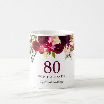 Burgundy Red Floral Boho 80th Birthday Gift Coffee Mug