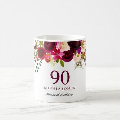 Burgundy Red Floral Boho 90th Birthday Party Coffee Mug