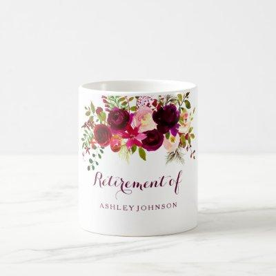 Burgundy Red Floral Boho Retirement Party Gift Coffee Mug