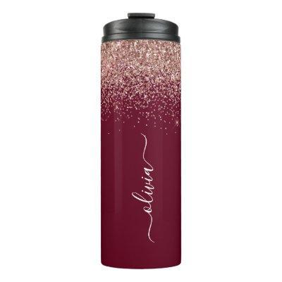 Burgundy Rose Gold Blush Pink Glitter Monogram Thermal Tumbler