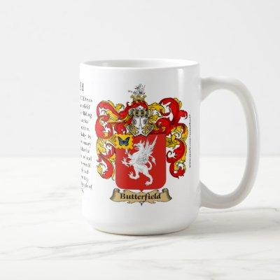 Butterfield, the Origin, the Meaning and the Crest Coffee Mug