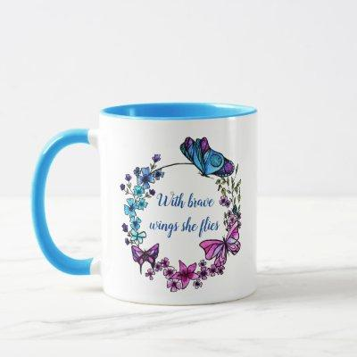 Butterfly and Flowers Wreath custom quote and name Mug