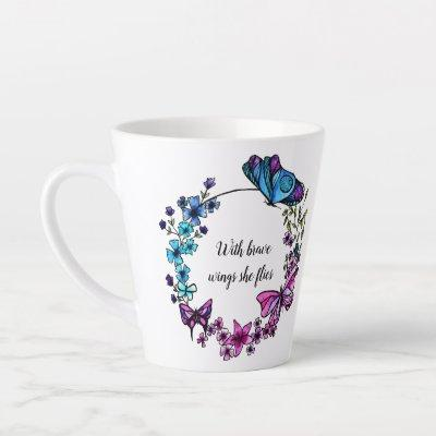Butterfly and Flowers Wreath custom quote or name Latte Mug