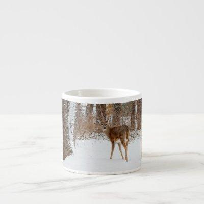 Button Buck Deer in Winter White Snowy Field Espresso Cup