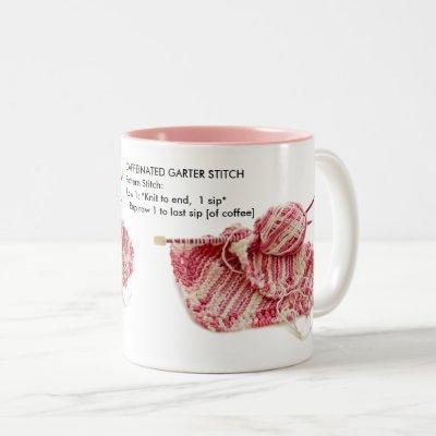 """""""Caffeinated Garter Stitch"""" - Fun Knit Pattern Two-Tone Coffee Mug"""