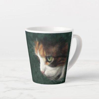 Calico cat kitten latte mug