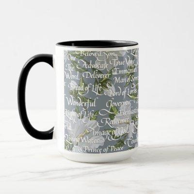 Calligraphy Names of Christ || Gray & Black Mug