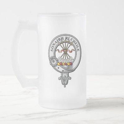 Cameron Crest Badge Frosted Glass Beer Mug