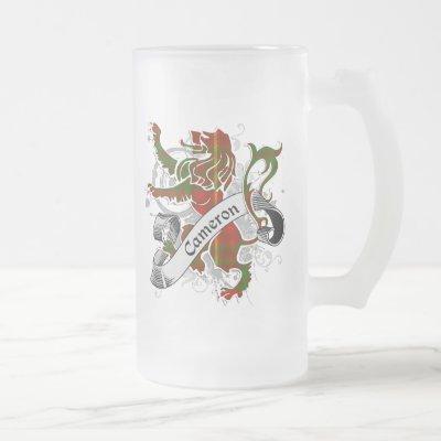 Cameron Tartan Lion Frosted Glass Beer Mug