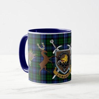 Campbell Clan Badge & Tartan Highland Mug