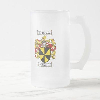 CAMPBELL FAMILY CREST -  CAMPBELL COAT OF ARMS FROSTED GLASS BEER MUG
