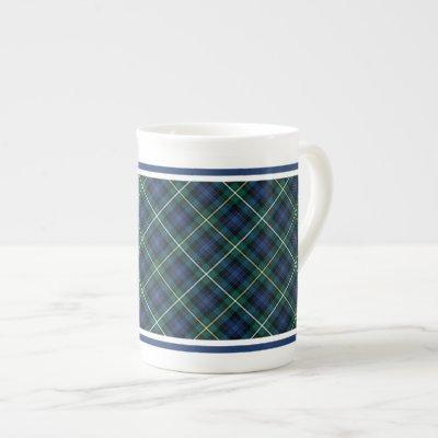 Campbell of Argyll Family Tartan Navy Blue Plaid Bone China Mug
