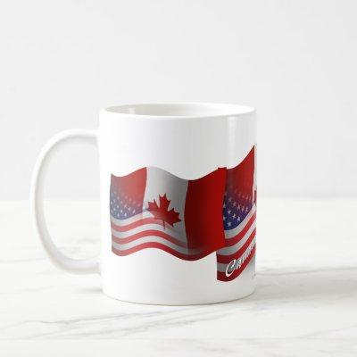 Canadian-American Waving Flag Coffee Mug