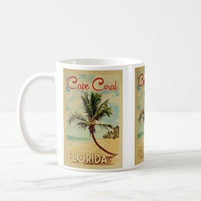 Cape Coral Palm Tree Vintage Travel Coffee Mug