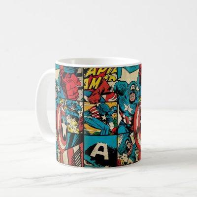 Captain America Retro Comic Book Pattern Coffee Mug