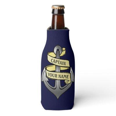 Captain Anchor Ship Boat Nautical Sea Custom Name Bottle Cooler