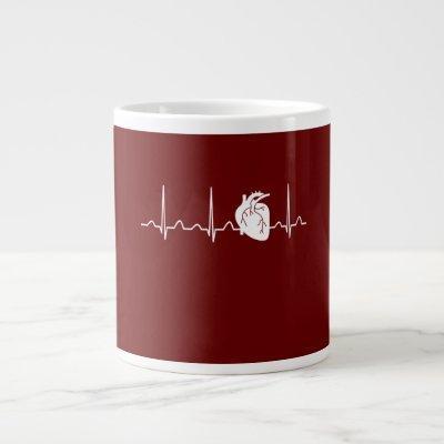 Cardiologist Heartbeat Giant Coffee Mug