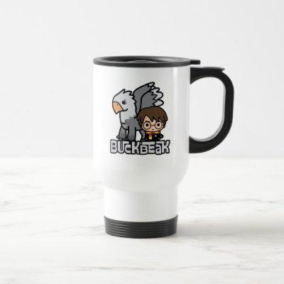 Cartoon Harry Potter and Buckbeak Travel Mug