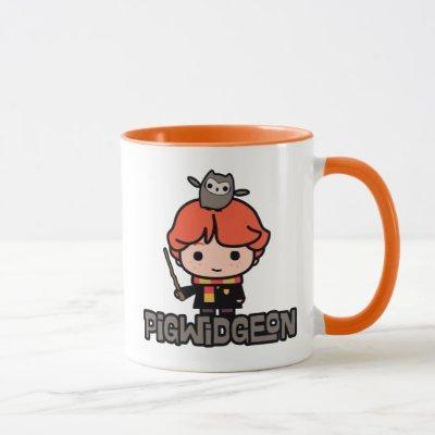 Cartoon Ron Weasley and Pigwidgeon Mug