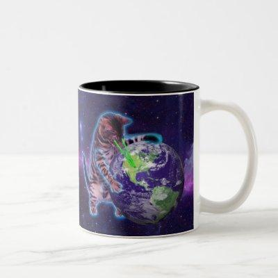 Cat destroying the world with eye laser Two-Tone coffee mug