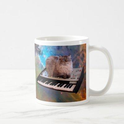 Cat on a Keyboard in Space Coffee Mug