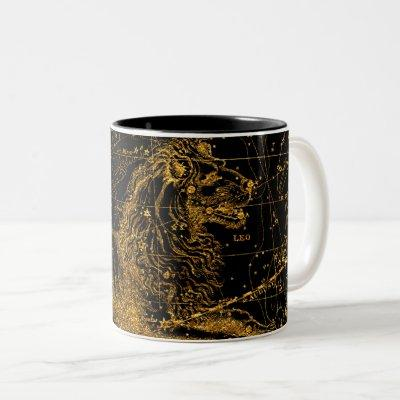 Celestial Star Map Astrological LEO Lion Gold Two-Tone Coffee Mug