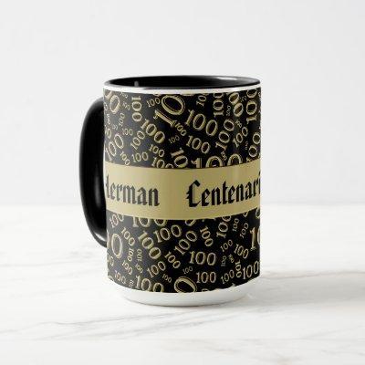 Centenarian Birthday Number Pattern 100 Black/Gold Mug