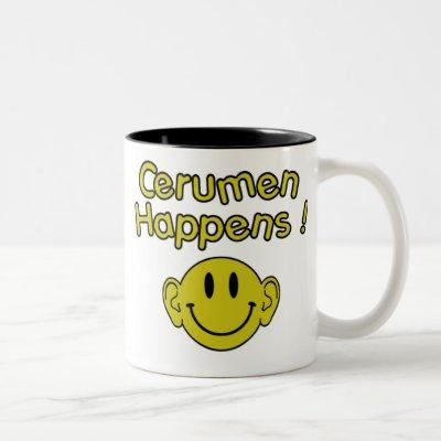 cerumen happens Two-Tone coffee mug