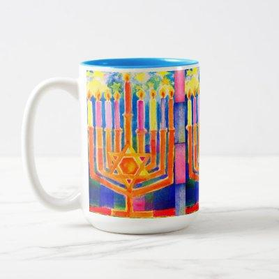 Chanukah Lights Two-Tone Coffee Mug