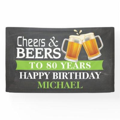 Cheers and Beers Happy 80th Birthday Banner Green