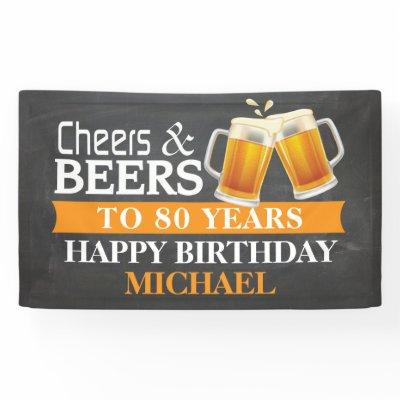 Cheers and Beers Happy 80th Birthday Banner Orange