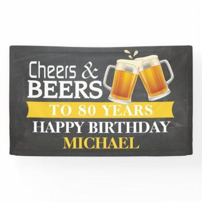 Cheers and Beers Happy 80th Birthday Banner Yellow