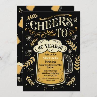 Cheers Birthday Beer Mug Invitation