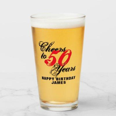 Cheers to 50 years 50th Birthday beer glass gift