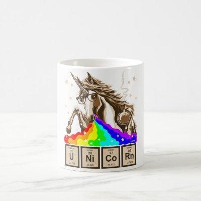 Chemistry unicorn pukes rainbow coffee mug