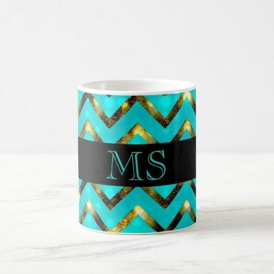 Chevron blue gold monogram personalize coffee mug