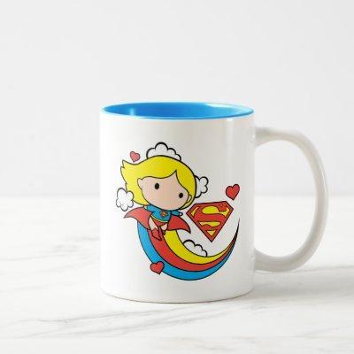 Chibi Supergirl Flying Rainbow Two-Tone Coffee Mug