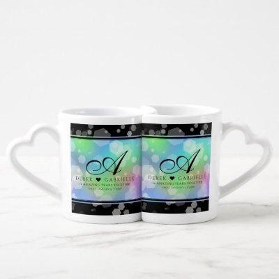 Chic 14th 24th 34th 43rd Opal Wedding Anniversary Coffee Mug Set
