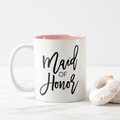 Chic Black Calligraphy Maid of Honor Two-Tone Coffee Mug