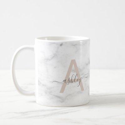 Chic Blush Pink White Marble Script Name Monogram Coffee Mug