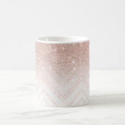 Chic faux rose gold glitter ombre modern chevron coffee mug
