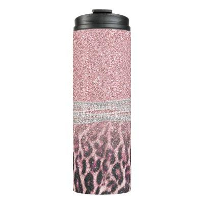 Chic Girly Pink Leopard animal print Glitter Image Thermal Tumbler