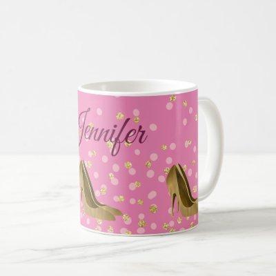 Chic Golden Stilettos Pink  Coffee Mug