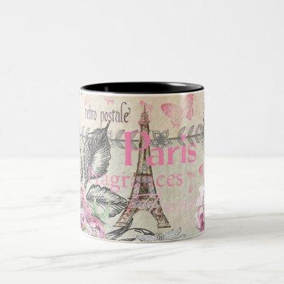 Chic pink floral Paris Eiffel Tower typography Two-Tone Coffee Mug
