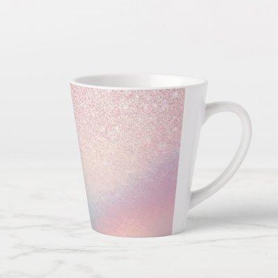 Chic Pink Glitter Iridescent Holographic Gradient Latte Mug