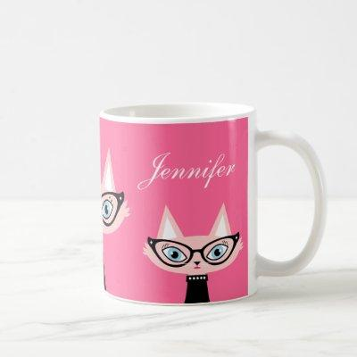 Chic Retro Modern Cat Mug - Pink