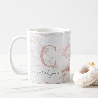 Chic Trendy Rose Gold Foil Marble Monogram Coffee Mug